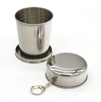Wholesale Cup Chain Settings Wholesale - Folding Wine Cup Beer Cup Stainless Steel Wine Glass Portable Wine Set Outdoor Drinkware Multi Key Chains Drinkware Set