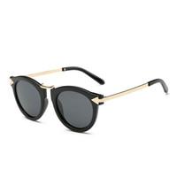 ingrosso occhiali in metallo-Retro occhiali da sole rotondi di rivestimento occhiali da sole polarizzati donne progettista di marca occhiali da sole donna metallo polarizzati occhiali da sole polarizzati all'ingrosso