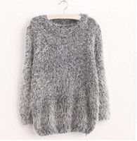 Wholesale Wholesale Mohair - Wholesale-2016 Hot Style Women Fashion Autumn Winter Warm Mohair O-Neck Women Pullover Long Sleeve Casual Loose Sweater Knitted Tops