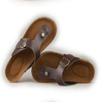Wholesale Leather Bottom Slippers Women - Wholesale-Summer slippers for men and women, 2016 new cork bottom flip-flops, sandals with a couple flip flops men