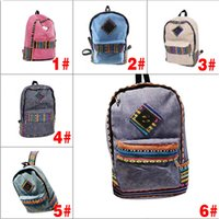 Wholesale Patchwork Books - Wholesale- 2014 New National Print Unisex Canvas Teenager Patchwork Zipper School Bag Book Backpack 88 BS88