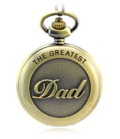 Wholesale Antique Pattern - Wholesale Antique Bronze Dad Pattern Quartz Pocket Watch with Necklace Fob Watch Father's Day Gift Father's Day PW080