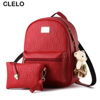 Wholesale bear clutch bag - Wholesale- CLELO 2017 new Backpack Women Bag Embossing PU Backpack School Preppy Style Backpack for Teenage Girls Bear Pendant Clutch Bag