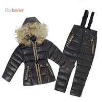 Wholesale Baby Winter Set Coat Trousers - Russia Winter Girl's Boy Clothing Sets Baby Girl Boys Ski Suit Set Children Jumpsuits Natural Fur Jackets   Coats + Trousers
