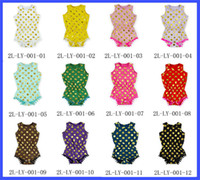 Wholesale Girls Outfit Ems - 2017 Hot polka dots infant rompers gold new - born baby girls pompom cute baby outfits children clothing romper with headband VIA EMS or DHL