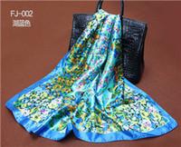 Wholesale Cheap Head Scarfs - Wholesale-90X90cm Twill Silk Scarf Big Size Fashion Brand Silk Polyester Blend Square Scarves 2015 High Quality Cheap Women Head Shawl