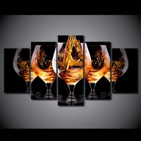 Wholesale Canvas Wine Decor - Five Big Wine Glasses 5 Panel Canvas Painting Modern Wall Art home decor Print poster Pictures For bedroom Unique gift