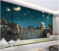 Wholesale cat wallpaper for walls resale online - 3d room wallpaper custom photo mural A cat watching the moon under a starry sky painting picture d wall murals wallpaper for walls d