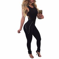 Wholesale Jumpsuits Wholesales - Wholesale- Women Bandage Jumpsuits 2017 Sleeveless Bodycon One Piece Outfits Long Pants White Black Sexy Rompers Womens Jumpsuit S-XL