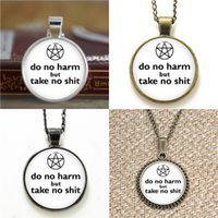 Wholesale Pagan Jewelry Wholesale - 10pcs Pagan Jewelry Do No Harm but take no shit white Glass Photo Cabochon Necklace keyring bookmark cufflink earring bracelet