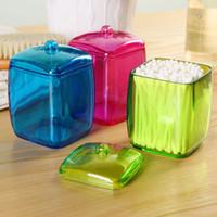 Wholesale Modern Designs Jewelry - New Design Colorful Cotton Swab Box Q-tip Storage Holder Cosmetic Makeup tool Women Storage Box Jewelry Box