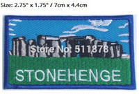 "Wholesale Souvenirs England - 2.75"" Stonehenge Patch Embroidered Badge UNESCO Souvenir Applique Wiltshire England TV MOVIE Series Costume Emblem applique"
