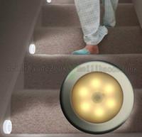 Wholesale Motion Sensor Battery Operated Lights - 2017 NEW 6 LED Battery-Operated Motion Sensor LED Night Light Automatic Motion Lamp & Light Sensor for Closets, Hallways, Bathrooms etc MYY