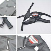 zíper de máscara de couro preto venda por atacado-Nova Cinto Ajustável Tokyo Cosplay Kaneki Kaneki Ken Zipper Máscaras de Cosplay Preto PU Máscara De Couro IC826
