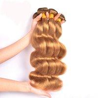 sarışın brazilian dalga saç paketleri toptan satış-Brezilyalı Vücut Dalga Remy Saç Atkı Sarışın Saç 1 ADET Için 10 inç 28 inç İnsan Saç Dokuma Paketler Hızlı kargo