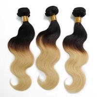 Wholesale two tone hair 1b 613 - Body Wave Brazilian Ombre Human Hair Weave 1B 613 1B Grey Two Tone Peruvian Hair Weft Cheap Hair Bundles