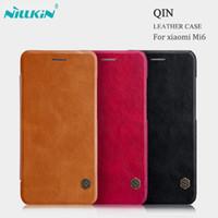"Wholesale Original Nillkin Leather Case - For xiaomi Mi6 Original NILLKIN Qin Series Classical PU Leather Flip Cover Case with card slot For xiaomi Mi6 5.15"" Case shell"