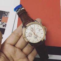 Wholesale Automatic Tachymeter - 2017 automatic date luxury fashion men wristwatch 6 pin of leather movement quartz High-quality clock men Brown Tachymeter watch