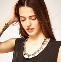 Wholesale Crystal Spike Collar - Free Shipping - Fashion Hot Selling New Punk Style Rivets Spike Necklaces Taper Stud Link Chain Bracelets Collar Chocker + Free Gift