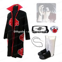 Wholesale Naruto Itachi Cosplay Full - Naruto Akatsuki Uchiha Itachi Cosplay Costume Cloak Headband Necklace Ring Shoes