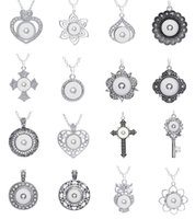 Wholesale Ginger Pieces - new 10 pieces assorted women's Silver ginger 18mm Snap Buttons chunk charms pendant necklaces wholesale lots