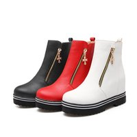 Wholesale Thick Platform Work Shoe - Flat Platform Shoes Woman 2017 Spring Autumn Thick Bottom Woman Casual Slip-on Height Increasing Shoes red black white