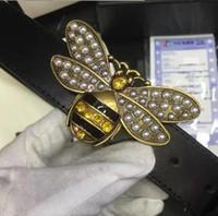 ingrosso uomini di cintura in pelle gialla-Vendita calda Moda pietre di lusso giallo ape Fibbia Uomini Donne Designer Cinture Cintura alta marchio Cintura in vera pelle per regalo.