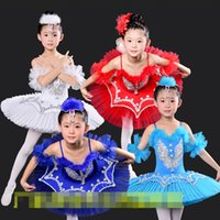 Wholesale Dancewear Dress For Kids - Kids Sequined Swan Lake Ballet dance Costumes Professional Platter Tutu Ballet Dress For Girls Classical Ballet Dancewear Dress