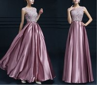 Wholesale Adult Satin Night - 2017 New Lace Satin Dresses Women Formal Wedding Bridesmaid Long Evening Party Ball Prom Gown Cocktail Dress
