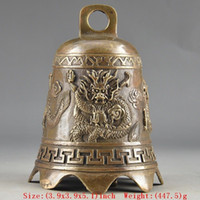 Cloches En Laiton Chinois Pas Cher-Prayer Handwork Hammered Chinese Brass Old Dragon Embossment Bell Decor