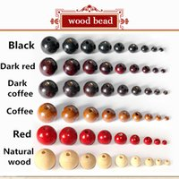 Wholesale wholesale color wooden beads - Wholesale 4-20mm Full size 6 color Assorted Wooden Round Bead Loose Spacer For Charm Bracelet wood bead