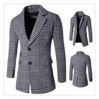 Wholesale Wool Coating Fabric Men - Men's Wool Coat Autumn&winter Houndstooth Fabric Single-breasted Lapel Men's Wool Medium and Long Windbreaker Coat US Size:XS-XL
