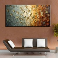Wholesale Wall Textures Modern - painting tool Unframed Handmade Texture Knife Flower Tree Abstract Modern Wall Art Oil Painting Canvas Home Wall Decor For Room Decoration