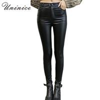 Wholesale Cheap Warm Leggings - Wholesale- 2016 Cheap Women PU Leather Leggings Black Plus Size Mid Waist ankle-length Women Leggings Autumn Winter Warm Women Leggings