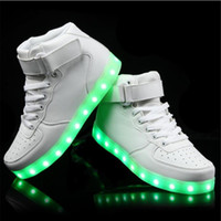 Wholesale Neon High Tops Shoes - Size 35-46 Men USB Charging LED Shoes 7 Colors Fashion Casual luminous shoes that light up high top black white neon shoes