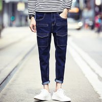 Wholesale Mens Multi Pocket Cargo Pants - Wholesale- 2017 New Brand Mens Jeans Fashion Korean Slim Fit Multi Pockets Denim Mens Pants Blue Ankle Length Men's Trousers Jeans Cargos