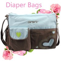 Wholesale Mom Bag Set - Baby Diaper Bag for Stylish Moms Multi-Function Maternity Mommy Baby Storage Mommy Bag Set Blue & Brown Waterproof PV with Inner Bag