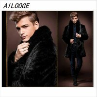 Wholesale Fake Mink Coats - AILOOGE 2016 New Style In Winter , Men's Fake Fur Mink Coat ,Thicker Coats, Long Section And British Style  HZ133