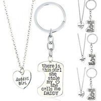 Wholesale Charming Heart Key Chain - Best gift Girl Stole Heart Mommy daddy Series Mother 's Day Father' s Day Necklace Key Chain WFN017 (with chain) mix order 1set=2 pieces
