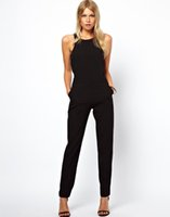 Wholesale Sexy Career Clothing - Wholesale Hot Sale Stylish Women Career Office Romper New Fashion Sleeveless O-neck Sexy Jumpsuit Full Length Pants Clothes Free Shipping
