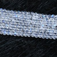 Wholesale Natural Blue Moonstone - Real Genuine Natural White Blue Transparent Moonstone With Black Mineral Dot flash light Round Loose Gemstone Ball Small Beads 4mm 05308