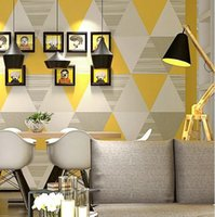 Moda Moderna Giallo Blu Camera lavabile Triangula Wall Paper Roll Decorazione domestica Papel De Parede 3D behang Geometric Wallpaper