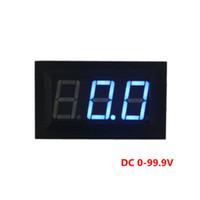 Wholesale Digital Panel Blue - DC 0-99V Digital Display Panel Voltmeter Blue Color LEDS Three Wires Voltage Meter