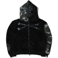 Wholesale Long Black Skull Cardigan - Hot New Camouflage skull zipper Coat Hoodie Winter Fleece Unisex Thicken Jacket Sweatshirts Fashion Men Clothing