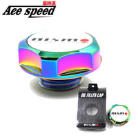 Wholesale Wholesale Racing Fuel - Wholesale- Ace speed--Nismo Aluminum Racing Oil Cap Oil Fuel Filter Racing Engine Tank Cap Cover Neo chrome