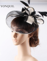 Wholesale sinamay cocktail hat - Fashion 17 colors available sinamay material fascinator cocktail hat church headwear wedding hair accessories free shipping FNR151242