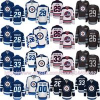 Wholesale Byfuglien Jersey - Mens Winnipeg Jets Custom 33 Dustin Byfuglien 29 Patrik Laine 26 Blake Wheeler Heritage Classic Black 100th Anniversary Ice Hockey Jersey