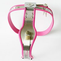 Wholesale stainless steel chastity belt woman - Stainless Steel Pink Chastity Belt Enforcer Chastity Device BDSM Sex Toys Female Chastity Belt Adjustable For Women Metal Underwear