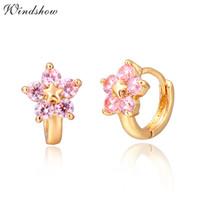 Wholesale Hoop Huggies - Wholesale- Gold Color 5 Round Pink CZ Crystals Flower Circle Loop Huggies Small Hoop Earrings For Women Children Girls Kids Jewelry Aros
