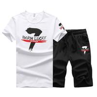 Wholesale Mens Suit Pcs - 2 PCS! 2017 Mens Print T-Shirt Causal Suit, Summer Short Sleeve T-shirt & Shorts, Fashion Male Wear Set, Man Tracksuit, t Shirt